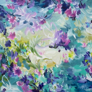 (CreativeWork) Floral Dreams by Amber Gittins. arcylic-painting. Shop online at Bluethumb.