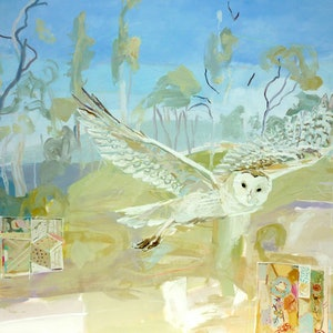 (CreativeWork) Owl In My Landscape by Laura Vecmane. oil-painting. Shop online at Bluethumb.