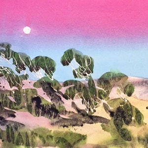 (CreativeWork) Perisher Moonrise  by Gavin Bridge. watercolour. Shop online at Bluethumb.