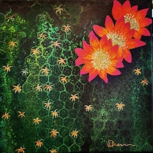 (CreativeWork)  blooming Lobivia Cactus by Donna Lewis. arcylic-painting. Shop online at Bluethumb.