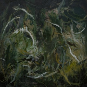 (CreativeWork) Green Essence by Christine Scurr. arcylic-painting. Shop online at Bluethumb.