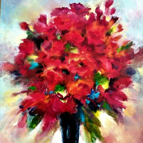 (CreativeWork) RED ON SHOW by Cecelia Krieg. Acrylic Paint. Shop online at Bluethumb.