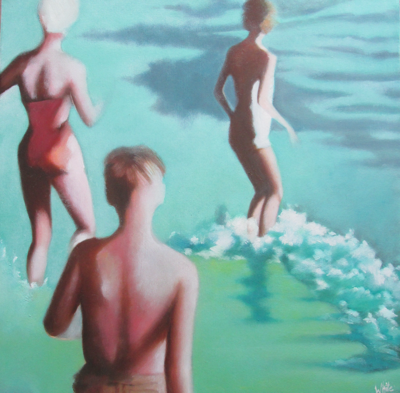 (CreativeWork) Bathers #4 by Janelle White. Oil Paint. Shop online at Bluethumb.