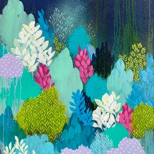 (CreativeWork) The Undergrowth by Clair Bremner. arcylic-painting. Shop online at Bluethumb.