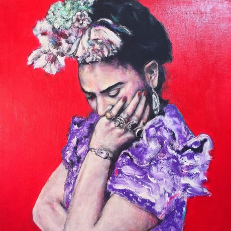 (CreativeWork) 'Contemplando Frida' (Contemplating Frida') Extra Large Limited Edition Giclee Fine Art Print     by Tanya Cole. Print. Shop online at Bluethumb.