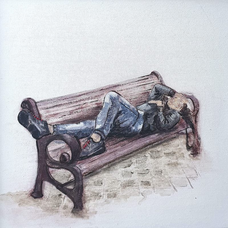 (CreativeWork) Park Bench: Break before night shift  - Alex listening to music, POTTS POINT PROPINQUITY  by Mary van den Berk. Mixed Media. Shop online at Bluethumb.