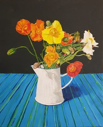 (CreativeWork) Still life with Poppies by Damon Lucas. Oil Paint. Shop online at Bluethumb.