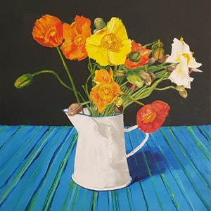 (CreativeWork) Still life with Poppies by Damon Lucas. oil-painting. Shop online at Bluethumb.