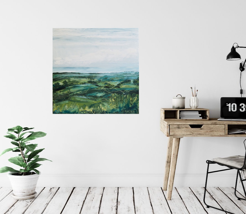 (CreativeWork) Coming Rain -View Over Byron Bay  by Michelle Keighley. Oil Paint. Shop online at Bluethumb.