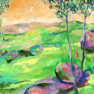 (CreativeWork) Green grass & sunshine  by sue bannister. oil-painting. Shop online at Bluethumb.