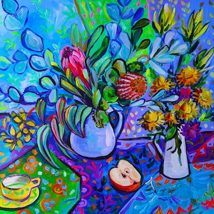 (CreativeWork) Still Life with Flowers  by Katerina Apale. #<Filter:0x00007fbc846a0c50>. Shop online at Bluethumb.