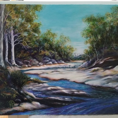 (CreativeWork) The drip gorge : Mudgee, N.S.W. by Greer Roberts. Acrylic Paint. Shop online at Bluethumb.