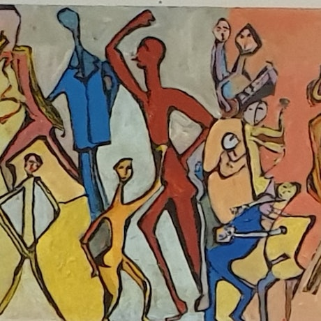 (CreativeWork) Having a party by Selwyn Myerson. Acrylic Paint. Shop online at Bluethumb.