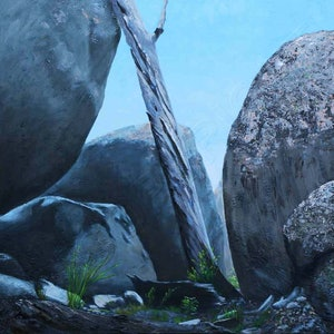 (CreativeWork) NORMAN'S ROCKS by Karen Collins. oil-painting. Shop online at Bluethumb.