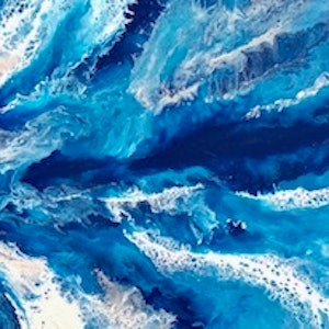 (CreativeWork) Out of my depth - original contemporary abstract by Debra Ryan. mixed-media. Shop online at Bluethumb.