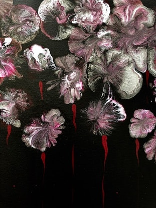(CreativeWork) Flowers 2 abstract art painting  by Debra Ryan. Mixed Media. Shop online at Bluethumb.