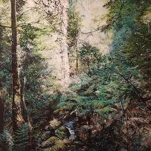 (CreativeWork) Into the Forest by Fae Ballingall. oil-painting. Shop online at Bluethumb.
