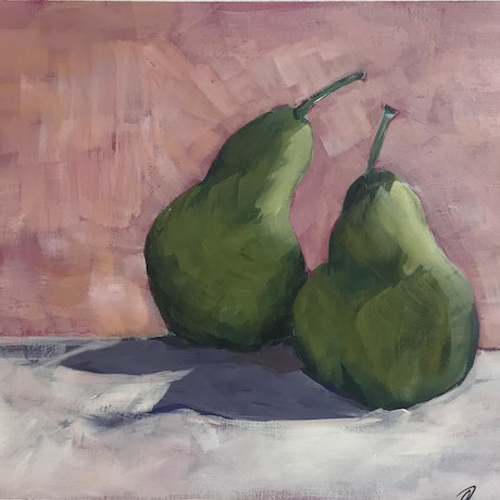 (CreativeWork) Pair of Pears  by Judith Lanigan. Acrylic Paint. Shop online at Bluethumb.