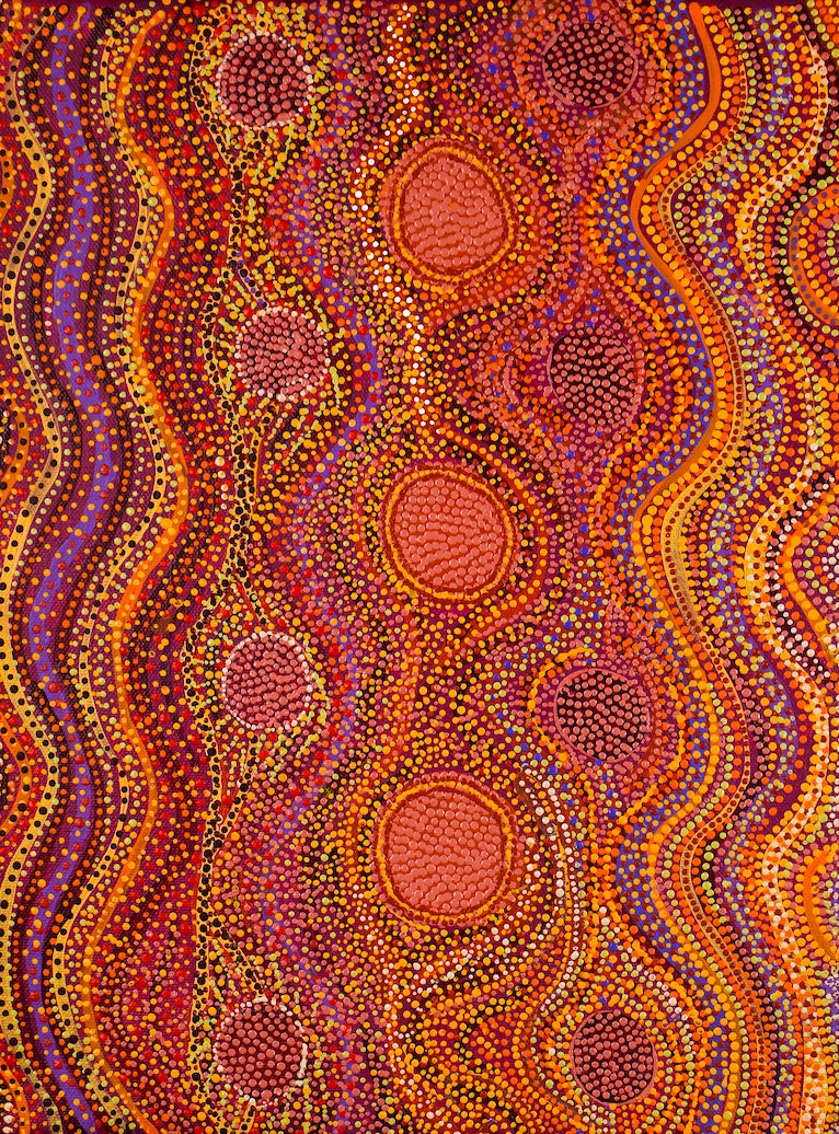 (CreativeWork) Mangarri (Bush Tucker), 410-19 by Helen Nagomara. arcylic-painting. Shop online at Bluethumb.