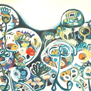 (CreativeWork) Quarry Beach by Sarah Morrow. arcylic-painting. Shop online at Bluethumb.
