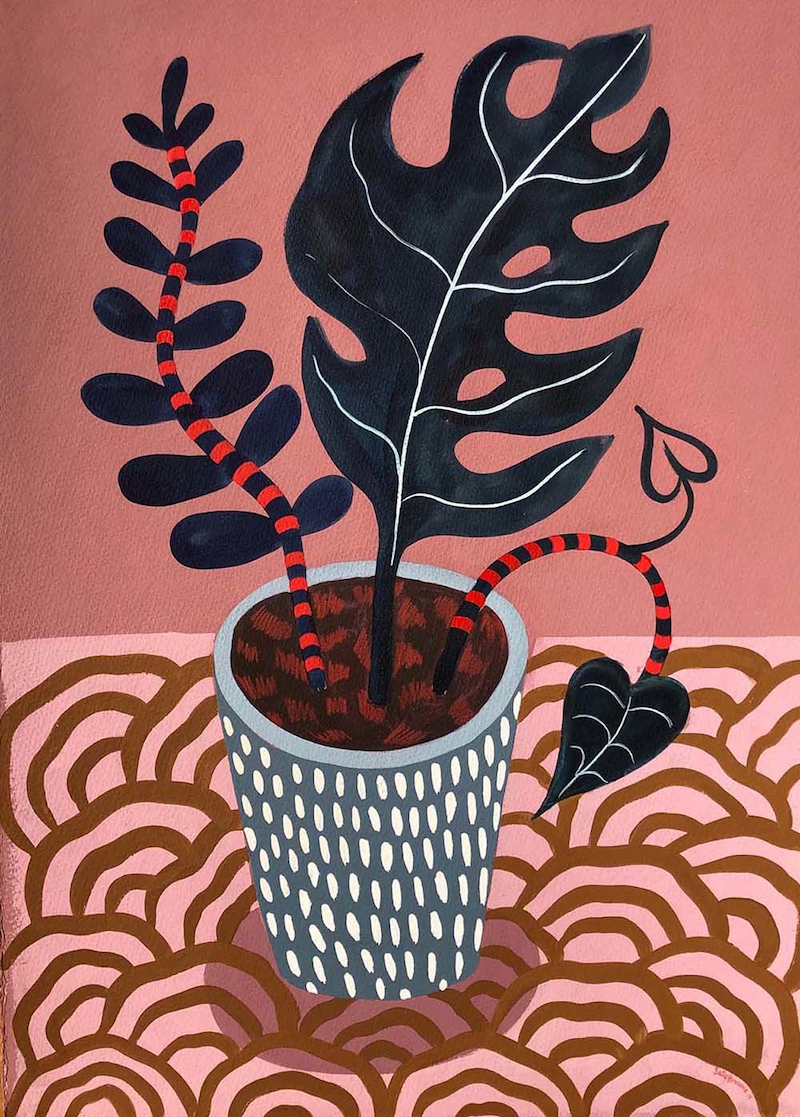 (CreativeWork) Monstera Pot 2019 by Sally Browne. Acrylic Paint. Shop online at Bluethumb.