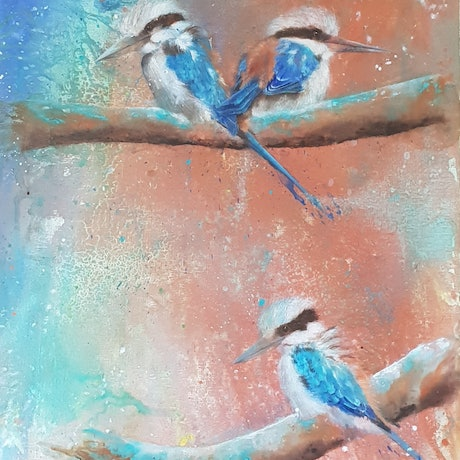 """(CreativeWork) """" Blue Beauties """" by Melissa Stone. Mixed Media. Shop online at Bluethumb."""