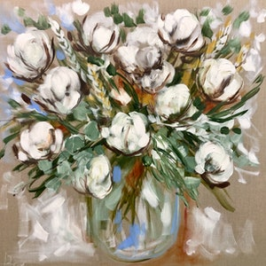 (CreativeWork) Bouquet of cotton blooms  by Amanda Brooks. arcylic-painting. Shop online at Bluethumb.