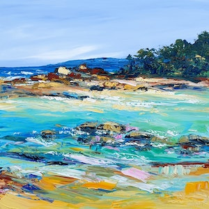 (CreativeWork) South West Rocks - Beach Art by Angela Hawkey. oil-painting. Shop online at Bluethumb.
