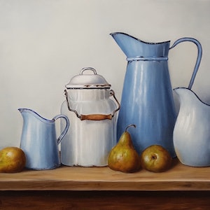 (CreativeWork) Vintage enamelware with pears - LTD Ed print Ed. 1 of 25 by Natasha Junmanee. print. Shop online at Bluethumb.