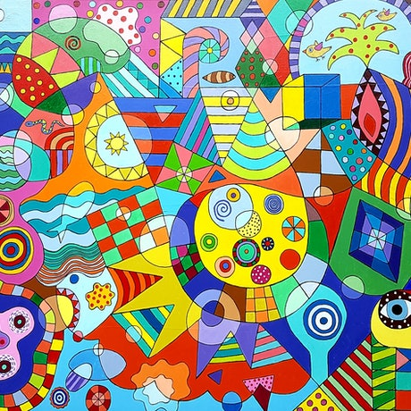 (CreativeWork) A voyage around happiness harbour by John Wade. Acrylic Paint. Shop online at Bluethumb.