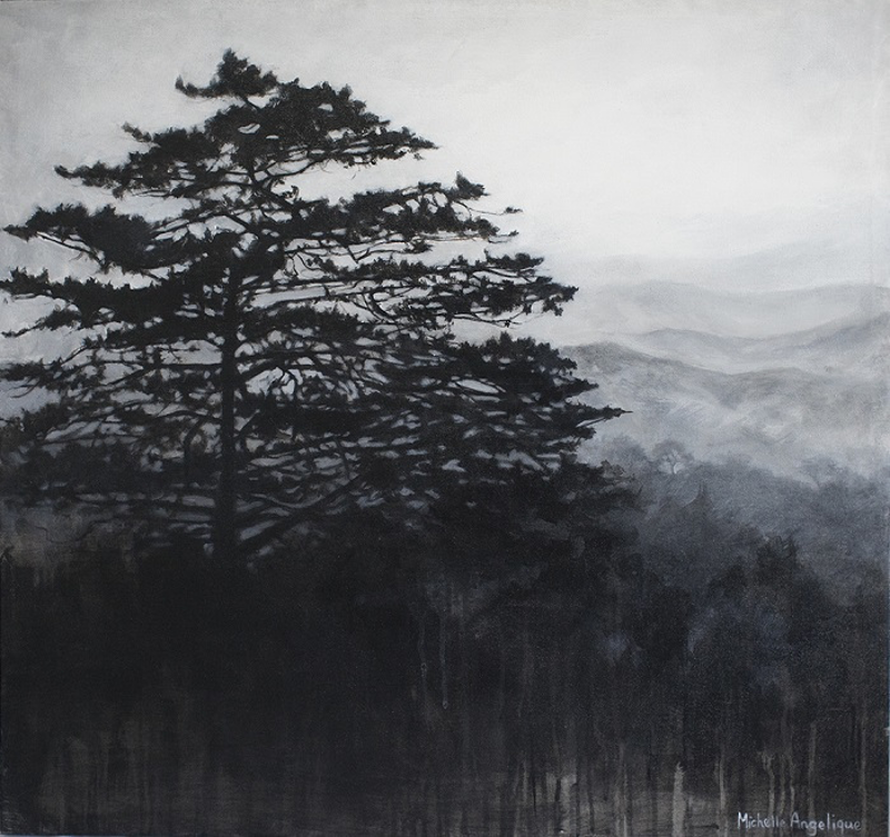 (CreativeWork) The lone pine by Michelle Angelique. acrylic-painting. Shop online at Bluethumb.