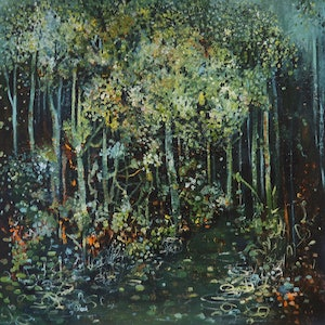 (CreativeWork) 50 Shades of Green   by Maria Cross. oil-painting. Shop online at Bluethumb.