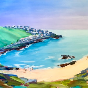 (CreativeWork) Seaside Town by Meredith Howse. arcylic-painting. Shop online at Bluethumb.