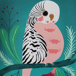 (CreativeWork) Pretty Little Budgie by emma whitelaw. Acrylic Paint. Shop online at Bluethumb.