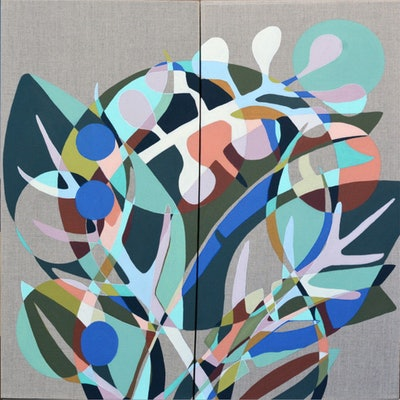 (CreativeWork) Leaf Loop Diptych by Tamara Armstrong. acrylic-painting. Shop online at Bluethumb.