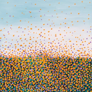 (CreativeWork) Field of Sunflowers  by Theo Papathomas. arcylic-painting. Shop online at Bluethumb.