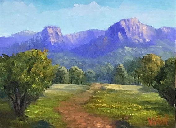 (CreativeWork) Virgin rock, Springsure, QLD - Oil on linen board  by Christopher Vidal. Oil Paint. Shop online at Bluethumb.