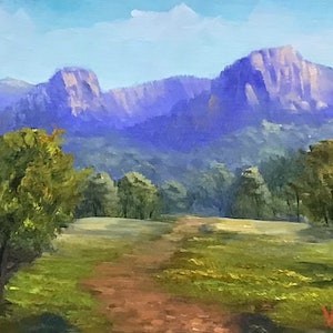 (CreativeWork) Virgin rock, Springsure, QLD - Oil on linen board  by Christopher Vidal. oil-painting. Shop online at Bluethumb.