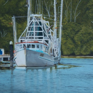 (CreativeWork) The River by Rob Kennedy. oil-painting. Shop online at Bluethumb.