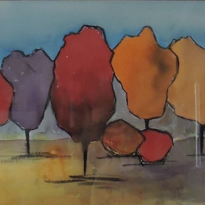 (CreativeWork) The Trees by Noela O'Keefe. watercolour. Shop online at Bluethumb.