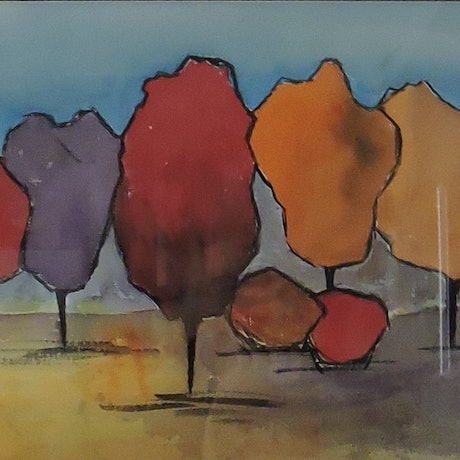 (CreativeWork) The Trees by Noela O'Keefe. Watercolour Paint. Shop online at Bluethumb.