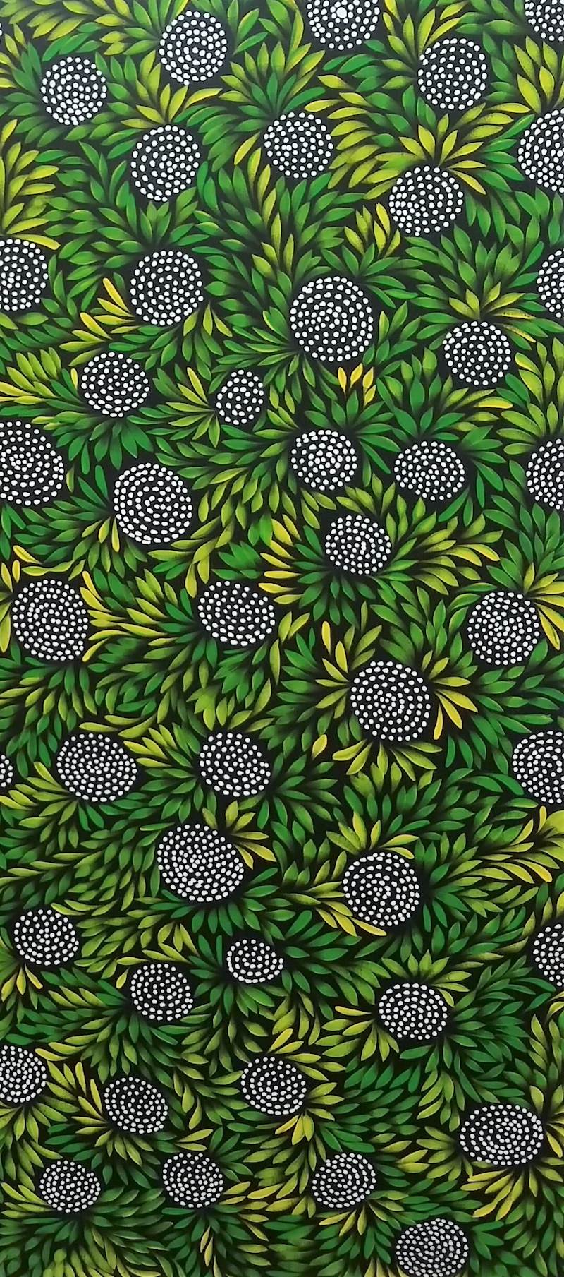 (CreativeWork) Green Bush Medicine Leaves & Meeting Place  by Louise Numina. Acrylic Paint. Shop online at Bluethumb.