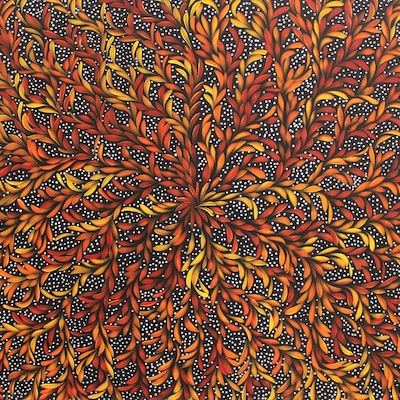 (CreativeWork) Bush Medicine Leaves Dreaming  - Traditional Colours by Louise Numina. Acrylic Paint. Shop online at Bluethumb.