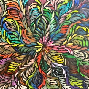 "(CreativeWork) ""Bush Medicine Leaves"" - Long Rainbow Multi-Coloured  by Louise Numina. arcylic-painting. Shop online at Bluethumb."