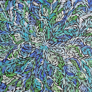 (CreativeWork) Bush Medicine Leaves Dreaming - Green/Blue by Louise Numina. arcylic-painting. Shop online at Bluethumb.