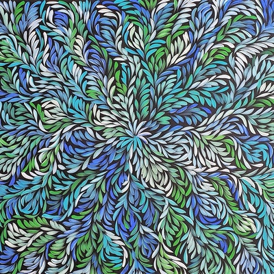 (CreativeWork) Bush Medicine Leaves Dreaming - Green/Blue by Louise Numina. Acrylic Paint. Shop online at Bluethumb.