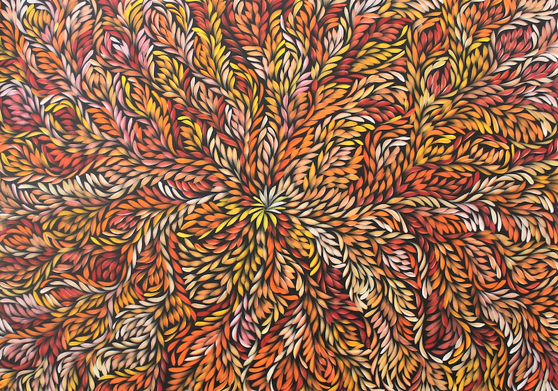(CreativeWork) Bush Medicine Leaves - Red/Orange/Yellow by Louise Numina. arcylic-painting. Shop online at Bluethumb.