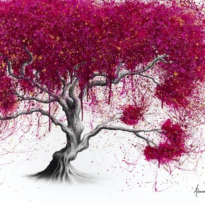 (CreativeWork) Magenta Kissing Tree by Ashvin Harrison. arcylic-painting. Shop online at Bluethumb.
