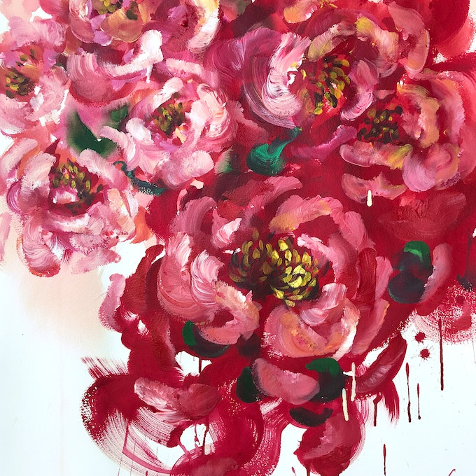 (CreativeWork) RED ADDICTION by Lily Nova. arcylic-painting. Shop online at Bluethumb.