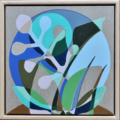 (CreativeWork) Leaves on Violet & Linen by Tamara Armstrong. Acrylic Paint. Shop online at Bluethumb.
